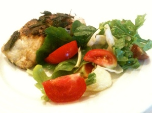 Pan Seared Fish and Garden Salad.